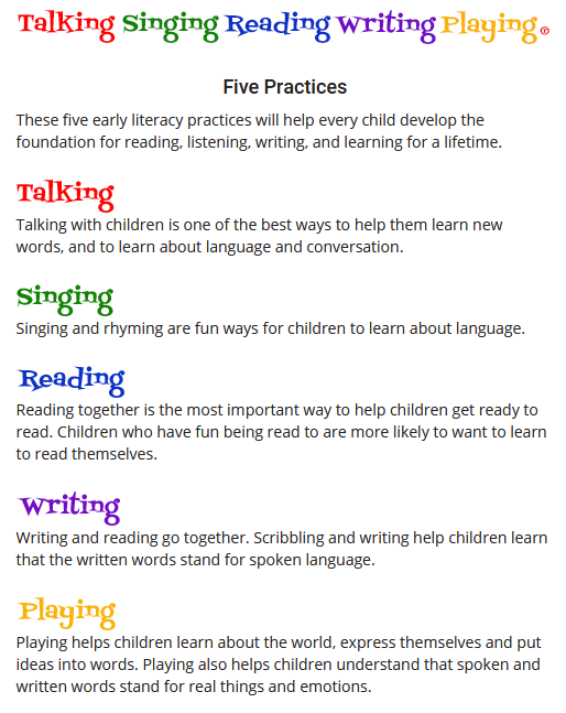5 practices for Early literacy: talking, singing, reading, writing, and playing